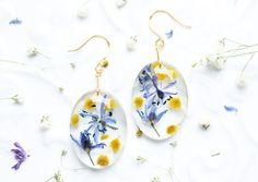earrings with real flowers - Mimosa and Scilla petals - nature inspired jewelry - botanical earrings - Mother's Day gift