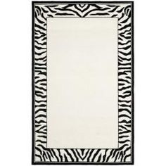 Hand-hooked Zebra Border White/ Black Wool Rug (3'9 x 5'9). For the TV/Tasting Room.