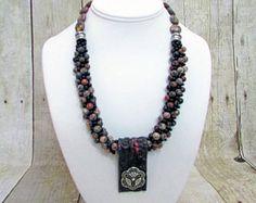 Kumihimo perla collar artesanal con pendientes  P8  a juego