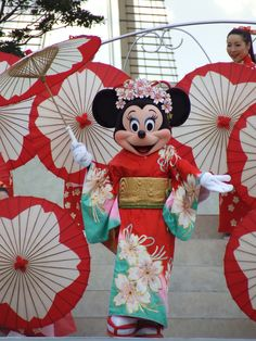 Minnie in kimono at the Tokyo Disney Sea, Japan. ☆However, Tokyo Disney Land/Sea are located in Chiba City and not Tokyo, of which the naming annoys the residents of Chiba. ;-)
