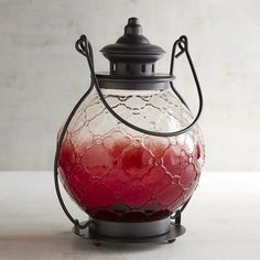 Pier 1 Imports Ombre Medallion Large Glass Lantern ($14) ❤ liked on Polyvore featuring home, home decor, candles & candleholders, red, glass home decor, pier 1 imports, glass lanterns, red home accessories and red lantern