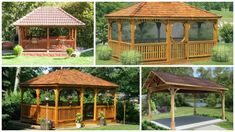 Cum construiesti un FOISOR dreptunghiular  - GHID pas cu pas   MODELE Gazebo, Backyard, Outdoor Structures, Case, Creative, Wooden Gazebo, Plant, Kiosk, Patio