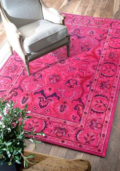 nuLOOM Pink Kimberly Overdyed style rug   Traditional Rugs LOVE this hot pink rug for some reason.  with that lowrider black leather couch and claw foot antique oak coffee table...mmm