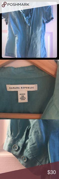 Banana Republic linen blue teal shirt;  XS petite Banana Republic linen blue teal sheer feminine shirt; size XS petite; no tear; no-smoker; no-pets household. Banana Republic Tops Blouses