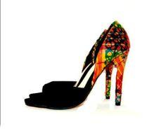 "5"" high heels, Black and Orange large African pattern stylish pumps, Black & African Print  Luxury bridal heels, African Ankara Fabric"