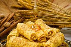 "Traditional Greek ""diples"" with honey! Greek Sweets, Greek Desserts, Greek Recipes, Egg Recipes, Cookie Recipes, Snack Recipes, Dessert Recipes, Beignets, Greek Cookies"