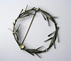 Brooch by Daphne Krinos. Silver, moonstone...