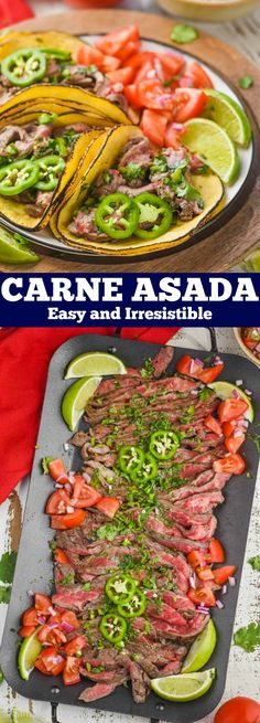 Carne Asada is an easy recipe that you will fall in love with. Full of delicious flavor, this recipe will become a favorite for taco night! Easy Holiday Recipes, Easy Healthy Recipes, Great Recipes, Easy Meals, Favorite Recipes, Organic Recipes, Mexican Food Recipes, Ethnic Recipes, Beef Recipes Hamburger