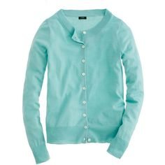 J.Crew Tippi cardigan ($50) ❤ liked on Polyvore featuring tops, cardigans, sweaters, outerwear, blue, j crew tops, j crew cardigan, blue top, button down top and button down cardigan