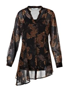 Tan Floral Tunic Blouse with CamiTan Floral Tunic Blouse with Cami, Brown/Black/Tan