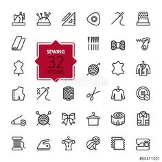 Vector: Thin lines web icon set - sewing equipment and needlework