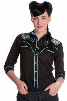 Western style stretch cotton shirt with flattering 3/4 length sleeves and turquoise piping detail. Front white pearlised press stud button fastenings. Turquoise welt pockets to front bodice. Black col