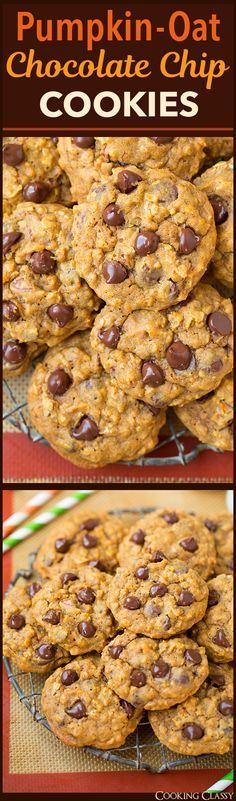 Pumpkin Oat Chocolate Chip Cookies - one of my all time FAVORITE fall cookies! We make them a few times every fall. (Chocolate Chip Muffins)