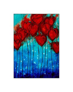 Red Hearts Love Mosaic Art Heart Love Lovers Print From Original Painting by Sharon Cummings Collectible Mini Matted Artwork 5x7 Blue Aqua