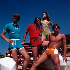 LOL, MEN IN ROMPERS.  ...Retro Male and Female Swimsuit Models, Group, Couples, Swimwear, 1970s Photographic Print at AllPosters.com
