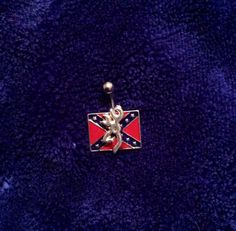 Browning Rebel Flag Fixed (non-dangling) Bellybutton Ring on Etsy, $15.00