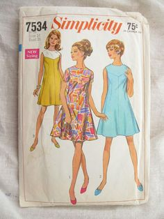 Simplicity 7534 1960s A Line Yoke Dress Vintage Sewing Pattern Bust 36