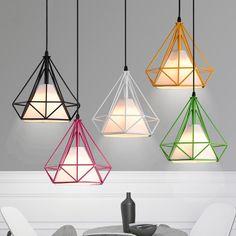 Pagoda Colored Metal Framework Pendant Light with White Fabric Shade - Pendant Lights - Ceiling Lights - Lighting