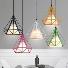 Pagoda Coloured Metal Framework Pendant Light with White Fabric Shade - Pendant Lights - Ceiling Lights - Lighting
