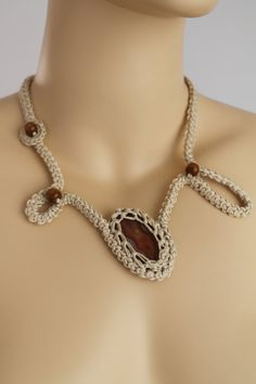 Off White  Crochet Necklace with Brown  Agate Stone by lucylev, $35.00
