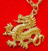 Fierce CHINESE Dragon Charm 24kt Gold Plated over Genuine Real Sterling Silver Jewelry pendant
