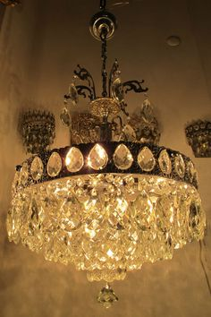 Antique Vnt French HUGE Basket Style Crystal Chandelier Lamp 1940's 21in Width * #French