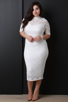 a627ec36b2 Mock Neck Floral Lace Midi Dress