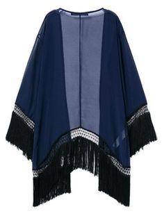 Shop Dark Blue Chiffon Kimono Coat With Tassel from choies.com .Free shipping Worldwide.