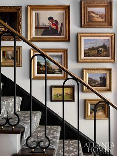 Lasting Impressions In the foyer, a portion of the homeowners' treasured collections greet guests, like the antique dog paintings and landscapes that line the stairwell. Lasting Impressions In the foyer, a portion of the homeowners' treasured colle Décor Antique, Antique Decor, Antique Furniture, Pallet Furniture, Furniture Ideas, Victorian Wall Decor, Geek Furniture, Antique House, Asian Furniture