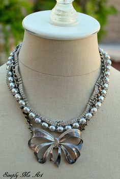 Vintage Rhinestone Pearl and Mixed Metal Layered by simplymeart