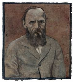 """140. """"Dostoevsky"""" Painting, oil on paper 1993, Richard Britell 6.5"""" x 6""""  Collection of Julia Britell"""