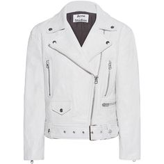 ACNE STUDIOS Merlyn Memory White // Leather biker jacket (64,530 DOP) ❤ liked on Polyvore featuring outerwear, jackets, coats & jackets, coats, white moto jacket, asymmetrical zipper jacket, white jacket, leather jackets and leather moto jackets