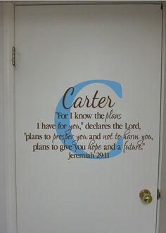 "I love!  Jeremiah 29:11- Monogram Scripture Christian Religious Bible verse Vinyl nursery teen wall decor-I know the plans- 16.5""x27. $32.00, via Etsy."