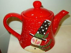 Christmas Holiday Snowman Tea Pot -Top Hat Park Designs By Jill Ankrom New W/Tag | eBay