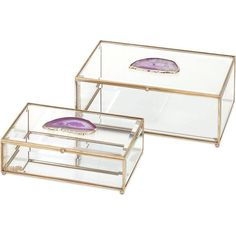 Mason Glass and Agate Boxes (Set of 2)