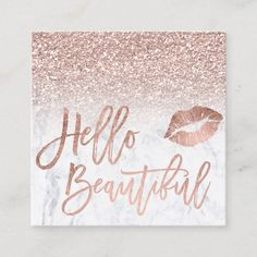 Hello beautiful rose gold glitter ombre marble square business card Custom Designs Business for you to fully customize Room Decor Bedroom Rose Gold, Rose Gold Rooms, Rose Gold Decor, Rose Gold Glitter, Room Ideas Bedroom, Rose Gold Wall Art, Marble Bedroom, Rose Gold Painting, Glitter Bedroom
