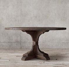 20th C. Reclaimed Pine Trestle Round Dining Table