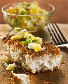 """Macadamia and coconut crusted fish  Prep: 20 minutes Cook: 10 minutes Makes: 6 servings  """"Crispy-crunchy gets our vote every time,"""" wrote JeanMarie Brownson in her column Dinner at Home. Her memorable pan-fried fish dish won our vote, and stomachs, handily.  6 pieces (about 6 ounces each) skinless fish fillets, such as mahi mahi, each about 3/4-inch thick 1 teaspoon salt Freshly ground pepper 1/2 cup dry roasted macadamia nuts, finely chopped ..."""