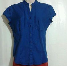 Blue Babydoll Button front Shirt Cap slv Essential DCC Petite Cotton Sz medium #DCC #ButtonDownShirt