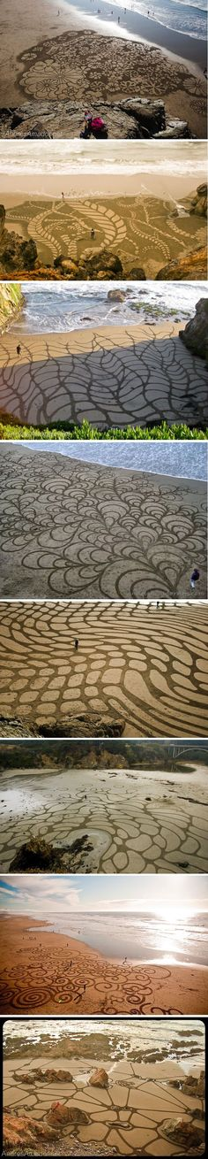 These are pictures of sand art!! Check out the pictures. They are huge designs! #streetart