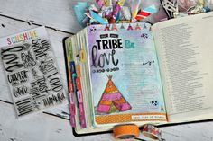 """Bridgett Brainard's Bible Journaling Page.  Check out how she created this page on our blog! She used the """"Adventure Awaits"""" stamp set for the teepee, and """"Faith"""" for the word """"love."""" Gorgeous!"""