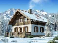 Комбинированный дом в стиле шале, второй этаж из бруса Swiss House, Alpine House, Swiss Chalet, Landscape Architecture Design, Cottage Style Homes, House In The Woods, Log Homes, Tiny House, House Plans