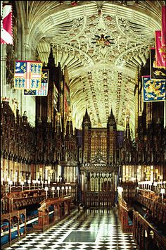 Saint George's Chapel  The interior of the Chapel has a beautiful ceiling, carved   wooden stalls, and the flags of the Knights of the Garter.   (photo by: Woodmansterne Limited Watford, UK)  (Sir Thomas Blount de Ayala, 19th GGF, Knight of the Garter)