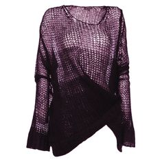 ANN DEMEULEMEESTER Knit Camelot ($450) ❤ liked on Polyvore featuring tops, sweaters, shirts, jumpers, women, purple shirt, knit sweater, open-knit sweater, purple jumper and longsleeve shirt