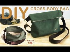 DIY CROSS-BODY BAG, easy making // วิธีทำกระเป๋าสะพายข้างแบบเท่ห์ๆ - YouTube Camera Bag Backpack, Crossbody Bag, Tote Bag, Couture Sewing, Linen Bag, Leather Bag, Purses And Bags, Creations, Pouch