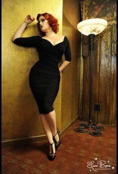 Monica Matte Black Jersey ruched dress.