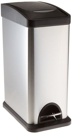Slim Trash Can Bathroom Kitchen Stainless Steel No Touch Dorm Foot Pedal Garbage #SlimTrashCan