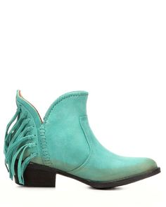 Womens Circle G by Corral Ankle Boot Cowhide Round Toe Boot with Fringe, Turquoise