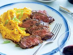 Chipotle Hanger Steak with Sour Cream Mashed Sweet Potatoes | Beef dishes, ready in 20 minutes or less
