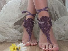 Free ship purple  Beach wedding barefoot sandals shoes prom party bangle beach anklets bangles bridal bride bridesmaid
